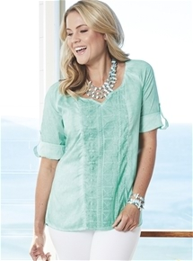 Embroidered Tab Sleeve Tunic