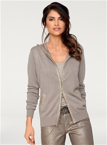 Metallic Zip Cardigan