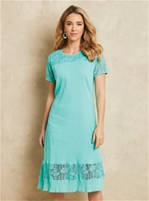 Lace Trim Crinkle Dress