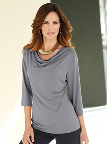 Cowl Neck 3/4 Sleeve Top