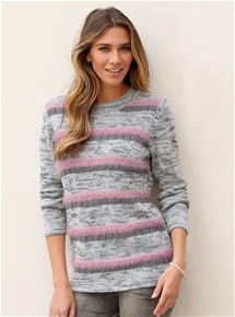 Fluffy & Melange stripe sweater