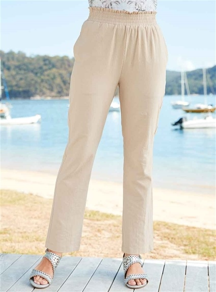 Cotton Shirred Trousers